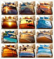 3D Beach Ocean Sunshine Bedding Set Comforter/Duvet Cover Pillowcase Quilt Cover