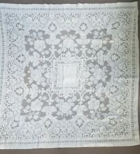 New listing Vintage Ivory Lace Tablecloth Table Topper Square Subtle Tablescape Mid Century