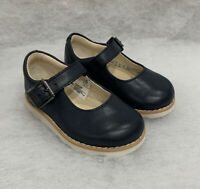 Girls Clarks Infant Crown Honer Navy Leather Buckle Fastening Size 4G