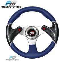Universal 320MM Racing Steering Wheel JDM Logo Blue Black PVC Leather