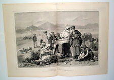Smuggling At Gibraltar Prepare To Pass Spanish Customs 1879 Double Page Print