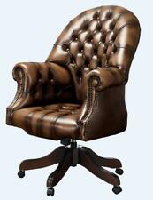 Chesterfield Vintage Directors Swivel Office Chair Antique Autumn Tan Leather