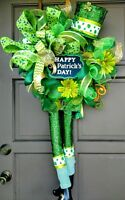 "Handmade XL 40"" St Patrick's Day Leprechaun Hat Legs Deco Mesh Wreath Door Decor"