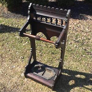 Antique 1880s Victorian Walnut Umbrella Cane Hall Stand Signed C. Blake Boston