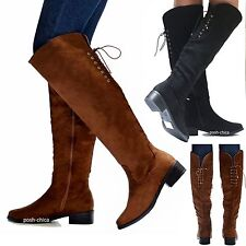 New Women TJn6 Black Brown Over the Knee Vegan Suede Lace Up Long Riding Boots