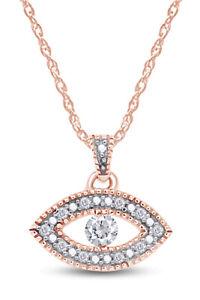 "Sapphire & Diamond Evil Eye Pendant Necklace 14K Rose Gold Over Sterling 18"""