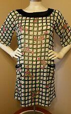 Olive des Olive Ivory and Navy Blue Floral Print Sheer Pocket Dress - Size M