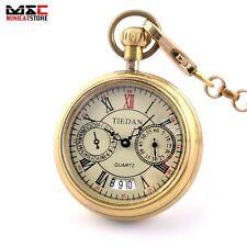 Vintage Open Face Date Steampunk Pocket Watch Quartz Pendant Chain Gift Necklace