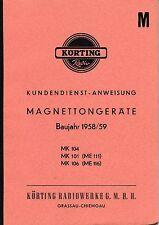 Istruzioni di servizio Körting magnetton dispositivo MK 104,mk 101 (me 111), MK 106 (me 116)
