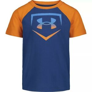 Under Armour Short Sleeve T Shirt, Boys Size 6, Blue / Orange, Heatgear