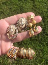 earrings lot Vintage Gold tone