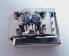 SKULL BLUE GEMS Eyes Italian Charm 9mm Halloween fits Classic Bracelet March