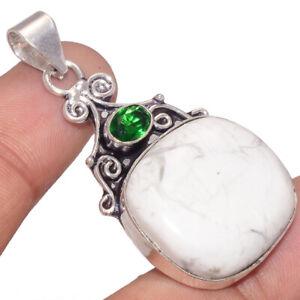 "Howlite Gemstone 925 Sterling Silver Pendant 2.3"""