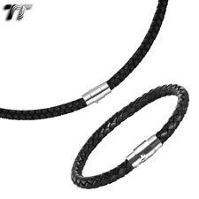 TT 6mm Black Leather stainless steel Clip Collar Necklace+Bracelet Set 2020 NEW