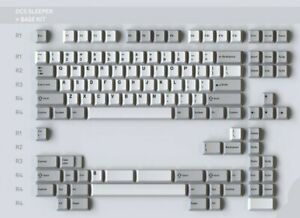 NEW DROP MiTo DCS SLEEPER Base Keyboard Keycaps Kit 122 Keys Gray White