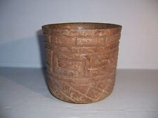 Pre-Columbian Maya Carved Cylinder Pottery Vessel Artifact