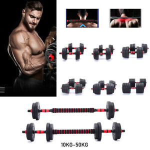 Adjustable Barbell 10-50kg Weights Dumbbell Set Gym Lifting Body Fitness Workout