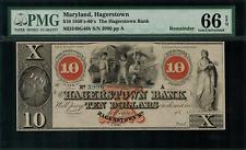 1850's-60's $10 Obsolete - Hagerstown, Maryland - Hagerstown Bank - PMG 66 EPQ