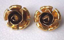 Vintage Boucle d'oreille doré rose PIERRE BEX signé French earrings clips !