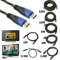 15m Braided HDMI Cable V1.4 AV HD 3D for PS3 Xbox HDTV 1M-15M Meters 1080P Lot