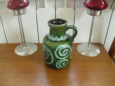 """Retro Mid-Century Scheurich Swirled Green Vase - 414-16 - 6 1/4""""(16cms)"""