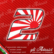 Adesivo Stickers NUMERO 2 moto auto cross gara JAPAN 5 cm