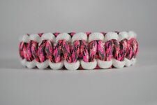 550 Paracord Survival Bracelet Cobra White/Pink Camo Camping Tactical Military