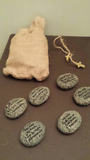 STONES OF FAITH SET OF 6 RESIN STONES WITH BIBLE VERSES IN BURLAP BAG