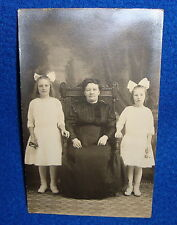 Vintage Real Photo Postcard a Seated Woman with Two Children RPPC