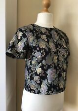 Warehouse Womans Top. Size 12. Black/ Gold/ Blue Floral. Metallic. Cropped.