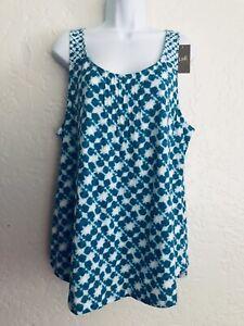 New J.Jill Womens Pintucked Batik Print Cyan Cotton Tank Size XL NWT