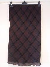 BASLER Dark Brown Check/Plaid SKIRT Front Waterfall Split & Lined - Size 18/20