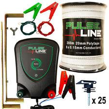 Electric Fence Energiser PLB13 1.3J 200m 20mm  White Tape 25 Insulators