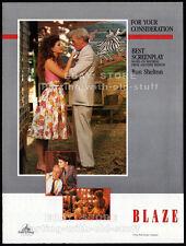 BLAZE__Original 1990 Trade AD / movie promo__For Your Consideration__Blaze Starr