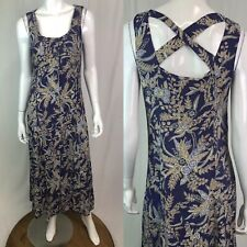 Coldwater Creek 8 Purple Floral Button Up Scoop Tank Cross Back Maxi Flare Dress