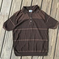 New listing Vtg Vintage 60s 70s Polo Shirt Mens Brown Striped Knit Size Large
