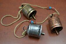 """3 Pcs Handmade Rusty Iron Metal Bells Glass Beads String Hanger 32"""" #75A"""