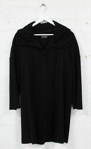 SCANLAN & THEODORE Long Black Wool Ruffle Collar Coat Size 8