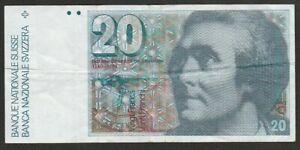 1981 SWITZERLAND 20 FRANKEN NOTE
