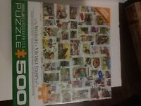 Eurographics puzzle 500,wildlife vintage stamps lg pieces, 19x27