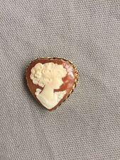 Shell Cameo Heart Pin/Pendant 14K Yellow Gold