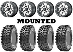 Kit 4 Maxxis Rampage Tires 30x10-14 on MSA M21 Lok Beadlock Charcoal Tint 1KXP