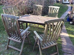 Vintage hardwood garden table & chairs