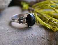 "GENUINE BLACK ONYX 925 STERLING SILVER RING SIZE 6""M"" WITH GIFT BAG"