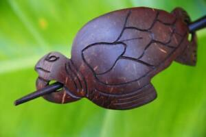 Carved TURTLE wooden HAIR PIN BARRETTE SLIDE CLIP CLASP handmade Sono wood new