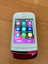 Vintage Nokia C2-02 pink & white mobile phone with charger