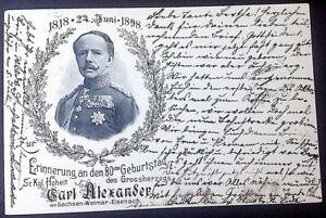 Ansichtskarten Adel Monarchie Karl Alexander Sachsen zum 80. Geburtstag.