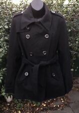 Brand New S 12 Black Wool Blend Jacket Waist Tie Pockets Fully Lined Length 74cm