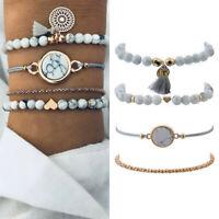 4Pcs/Set Trendy Marble Beads Tassel Handmade Bohemian Charm Bracelet Jewelry Hot