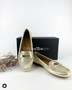 Brand new!Coach Fredrica metallic tumbled driving shoes in platinum color